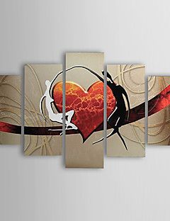 Oil+Paintings+Set+of+5+Modern+Abstract+Lovers+Heart++Hand-painted+Canvas+Ready+to+Hang+–+AUD+$+231.63