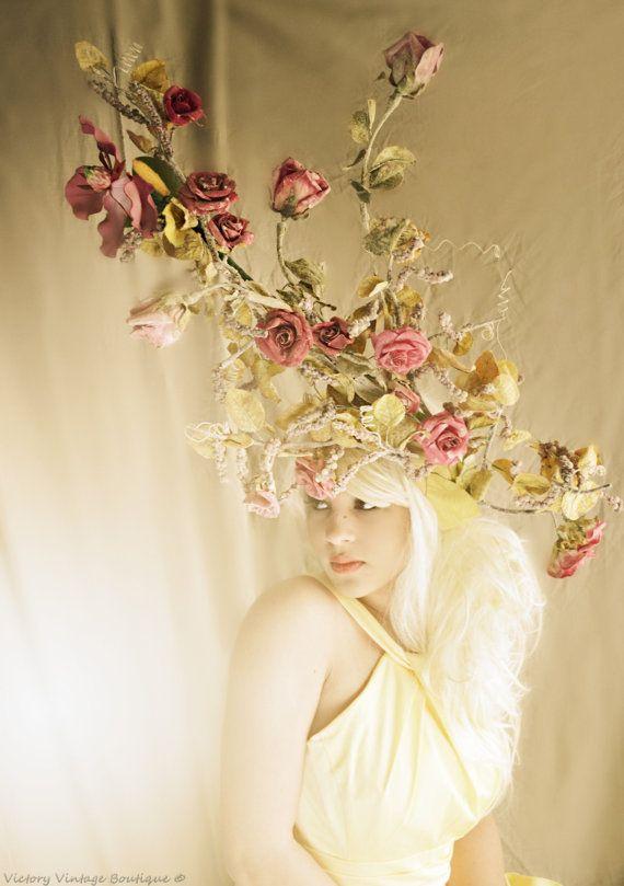 Rose, Branch, TREE,Rose bush,Headpiece,headdress,huge headdress,HAT,sculpture,high fashion,fascinator on Etsy, $295.00