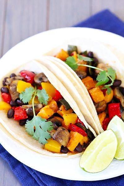 Roasted Vegetable & Black Bean TacosMr. Tacos, Easy Dinners, Gimme, Dinner Recipes, Roasted Vegetables, Mr. Beans, Leftover Veggies, Tacos Recipe, Black Beans Tacos