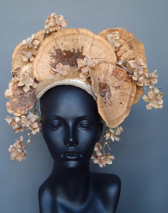 Brown Fungus & Flower Headpiece by MissGDesignsShop