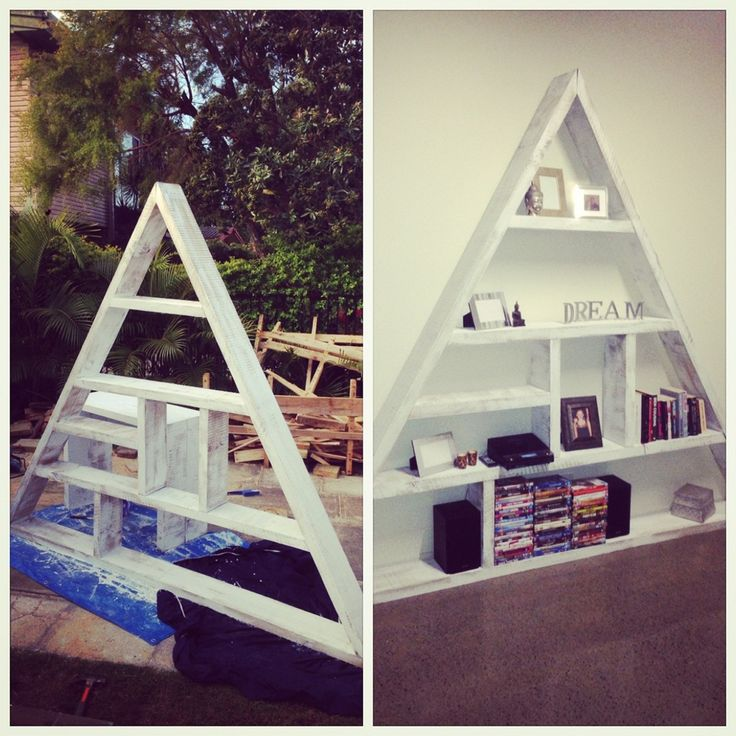 Handmade Triangle bookcase made from Recycled Timber Sleepers www.simplyrecycledfurniture.com.au