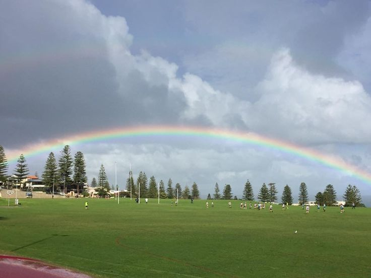 A beautiful rainbow while watching my son play football.