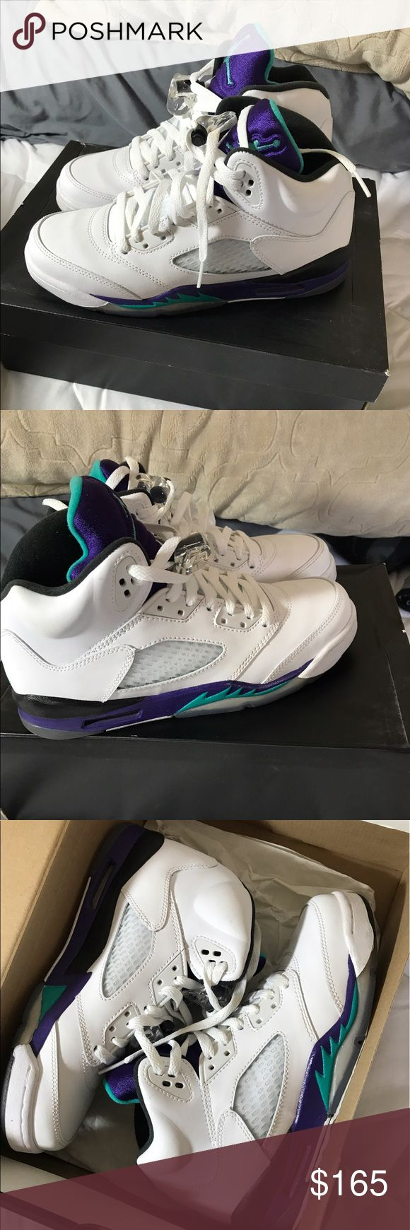 Air Jordan retro 5 emerald grape black white These are pretty hard to find. All the Jordan's I'm selling were gifted to me and I never wore them. Not really my style.. So I'm selling them Size 6.5 youth. I usually wear a 7.5 women's and these fit just the same, so I'm listing as size 7.5 even though it is kids 6.5. Jordan Shoes Sneakers