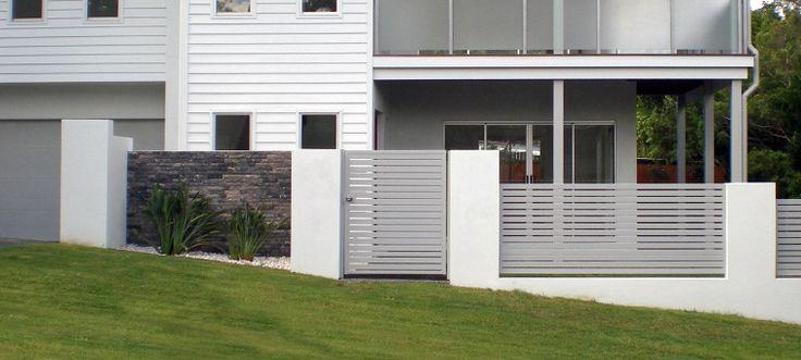 Pedestrian gates aluminium slat fencing with stacked for Landscape architect brisbane
