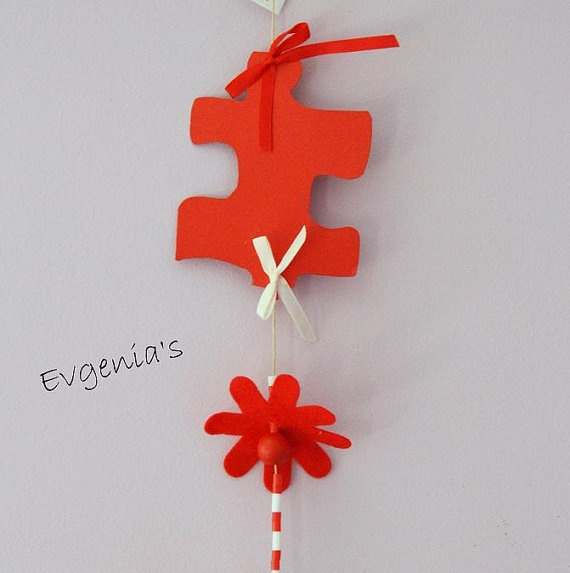 Handmade 2 Red Puzzle and Red Butterfly with by EvgeniasOrnaments, $20.00