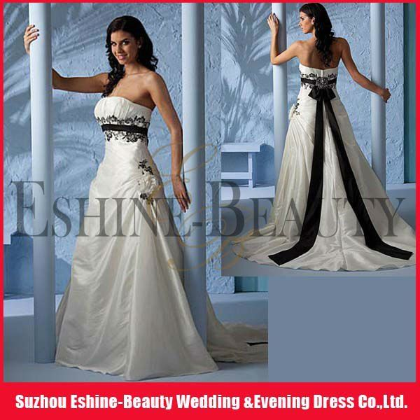 2012 Popular A Line Strapless Satin Embroidered Black And White Plus Size Wedding Gown