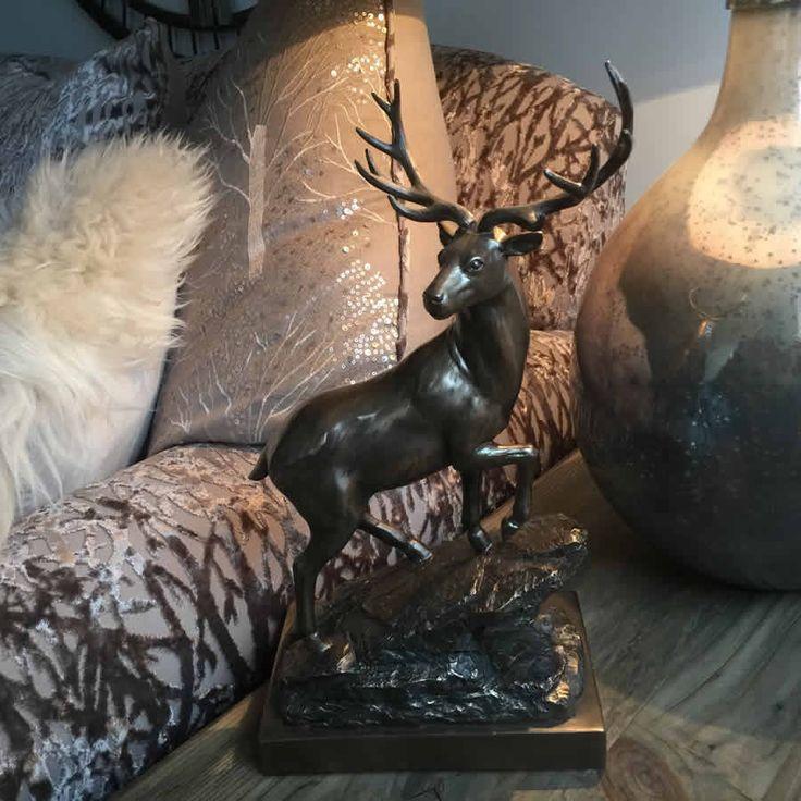 Bronze highland stag statue