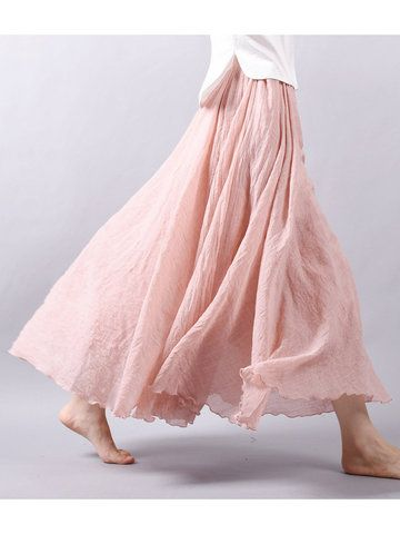 Gracila Women Casual Loose Cotton Pure Color Skirt