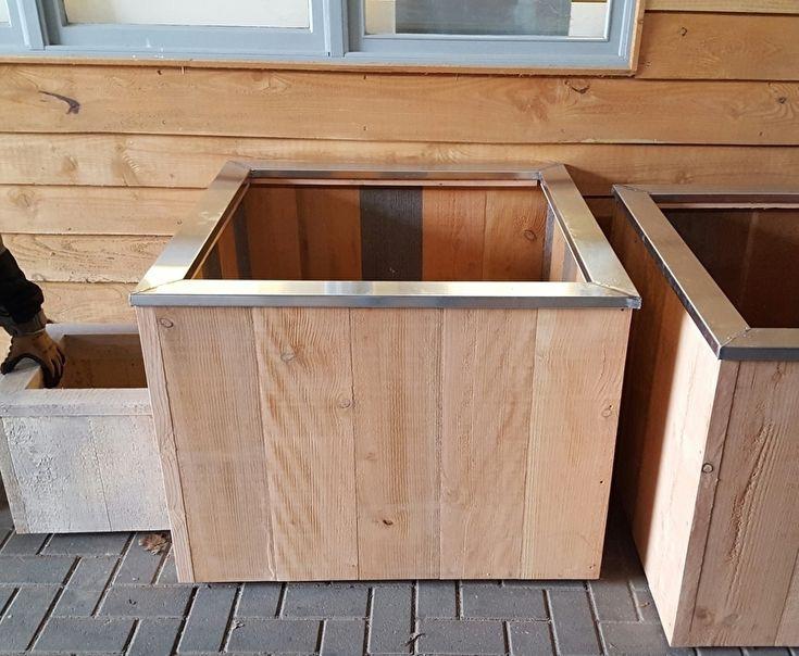Douglas houten plantenbak op wielen zinken rand 100x100x70 cm tuininrichting pinterest - Houten doos op wielen ...