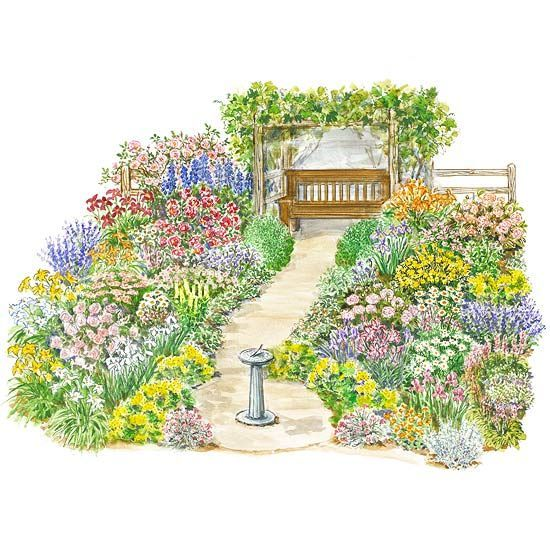 27 best garden plans images on pinterest flowers garden for Free perennial flower garden designs