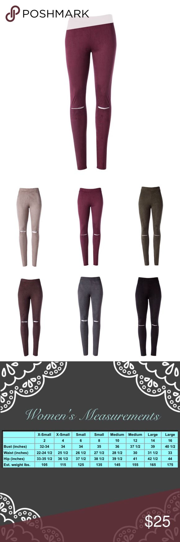"High Rise Suede Leggings With Slit Detail High rise elastic waist, slit by knee, suede knit skinny pants.  🔸96% Polyester 4% Spandex 🔸Made in USA 🔸Size Small Measurement: W: 13"" H: 38"" Inseam: 29""  Available in the following colors: Brown, Charcoal, Olive, Taupe, Wine	  ✔️Serious buyers please & No Low ballers!  To me it's asking half or more off an item is Low Balling.   ✔️Please understand the sizes listed on the size chart are different between manufacturers & suppliers & this chart…"