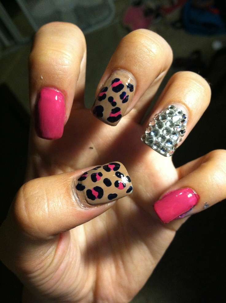 Pink Leopard & Diamond Nails. Cute Combo For Any Color