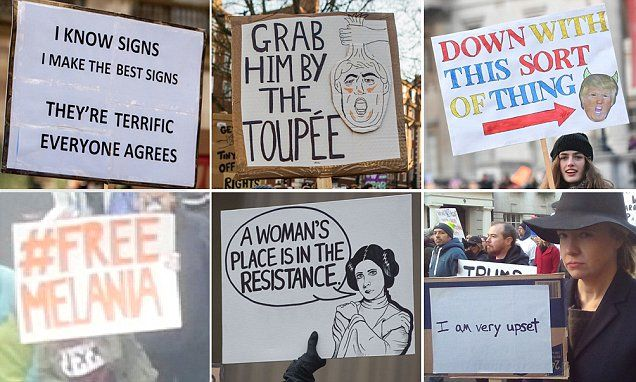 Thousands of women across the world marched in protest today against new US President Donald Trump. Many held hilarious signs mocking the 45th President.
