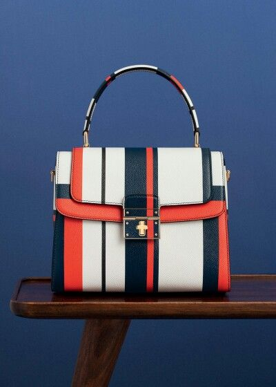 Dolce & Gabbana Summer 2016 Fashion Marine Stripes Bag inside the Woman Collection 'Spring in the City'.