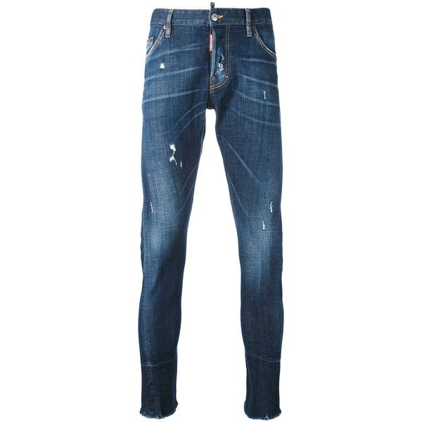 Dsquared2 tapered jeans (12.140 ARS) ❤ liked on Polyvore featuring men's fashion, men's clothing, men's jeans, blue, mens patched jeans, mens slim fit tapered jeans, mens blue ripped jeans, mens leather jeans and mens tapered jeans