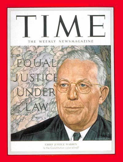 TIME Magazine Cover: Chief Justice Earl Warren -- Dec. 21, 1953