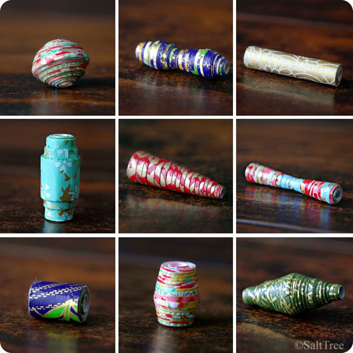 paper bead variety--diffeenrt styles and  made with them