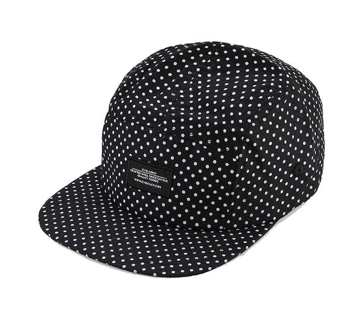 Polkadot hat by Evil Wear, black hat with polkadot pattern all over the hat, made from cotton and polyester fabric, with brown adjustable snapback fastening, a cool cap for everyday use, pair it with sunglasses and white t-shirt for casual look. http://www.zocko.com/z/JJJEh