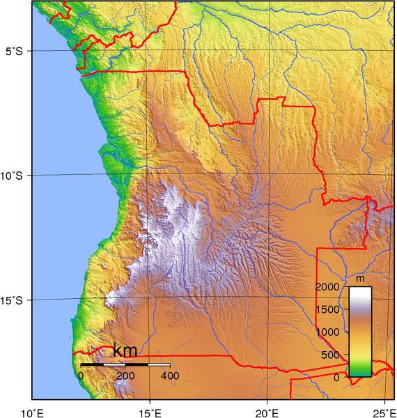 Topographic map of Angola.