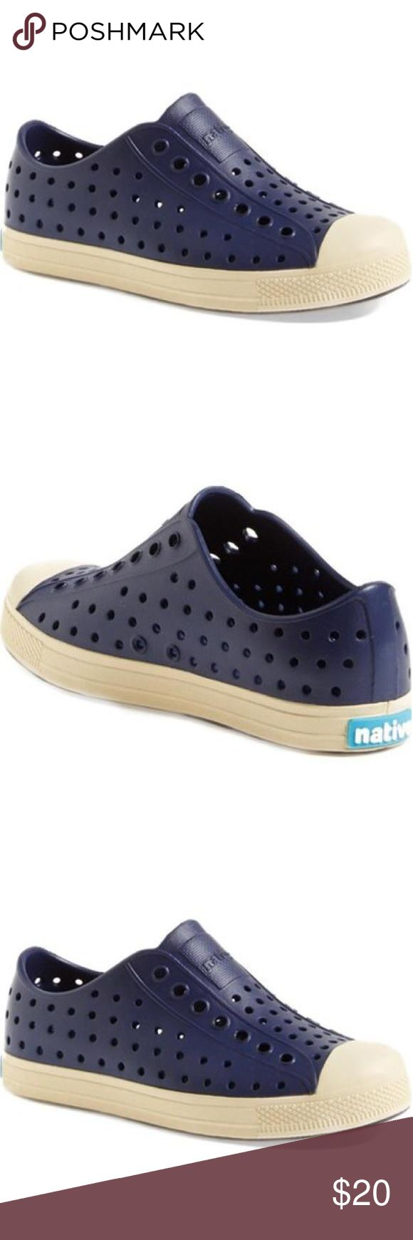 Navy Natives Youth Size 3 New Kids size 3. New. A classic sneaker silhouette is updated in ultra-lightweight EVA for a comfortable, cushioned feel. Allover perforations ensure feet stay cool and dry. KEEP IT LITE super lightweight construction. EVA upper, lining and sole. By Native Shoes Natives Shoes