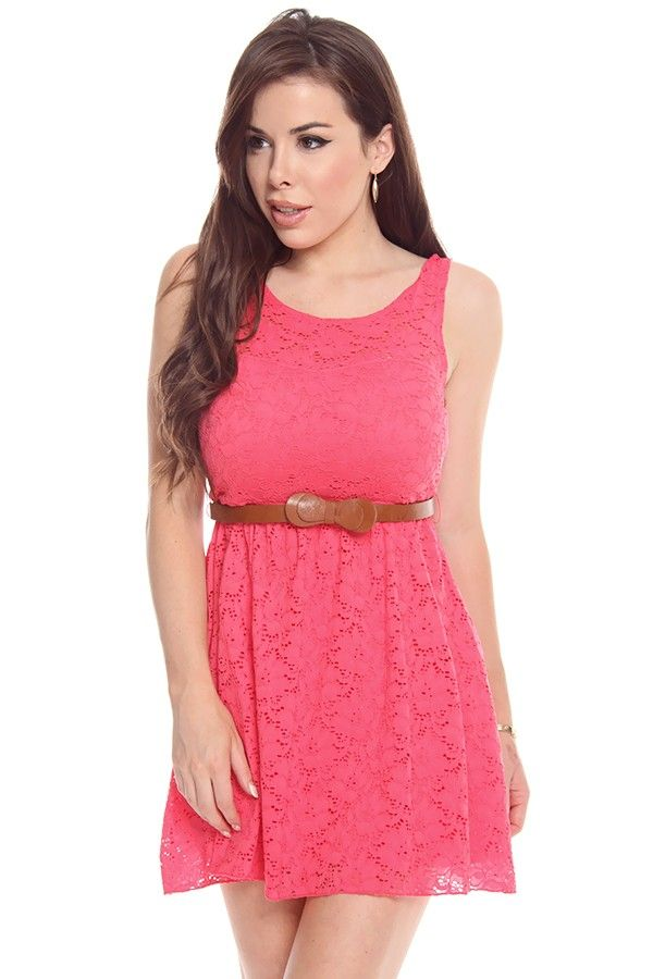 CORAL SLEEVELESS LACE BELTED MINI DRESS,Cute Casual Dresses-Casual Dress,Women Casual Dresses,Ladies Dresses,Collared Dress,High Low Dresses...