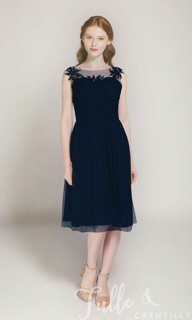 9831cb3e44e Short Platinum Tulle Bridesmaid Dress with Illusion Lace Neck TBQP300