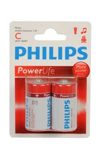 2-Pack Philips Power Alkaline Batterijen (C LR14-Baby 1.5V)