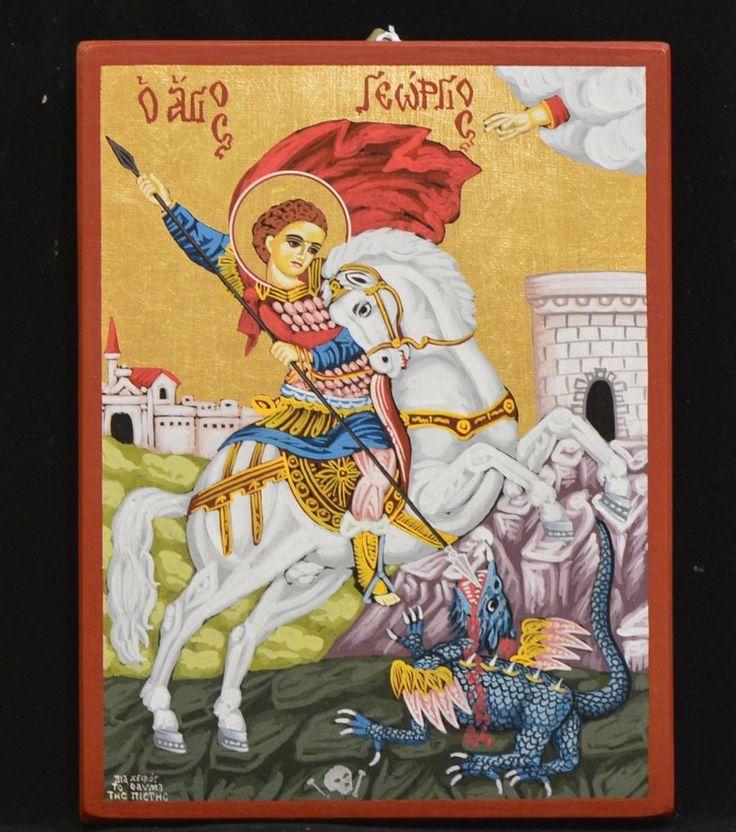 Greek Orthodox Byzantine Handpainted Icon Saint George Святой Георгий