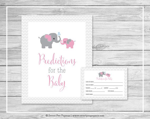 Elephant Baby Shower Predictions for Baby by SweetPeaPaperieShop