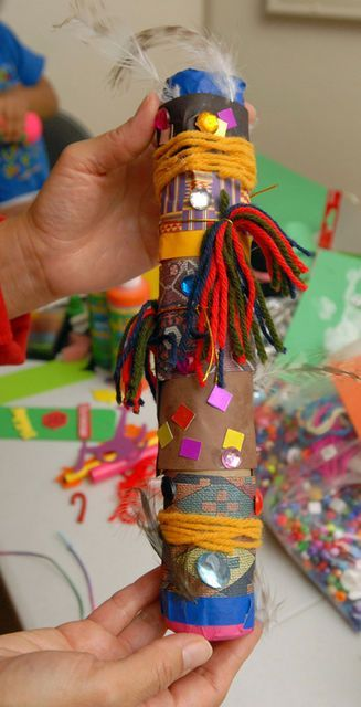 Rain Stick using collage materials