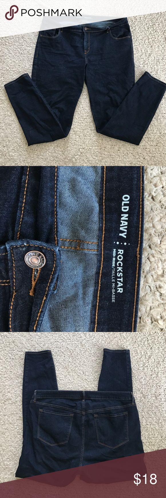Old Nacy rockstar jeans dark Size 18 long mid rise style. Worn only several times. Old Navy Jeans Skinny