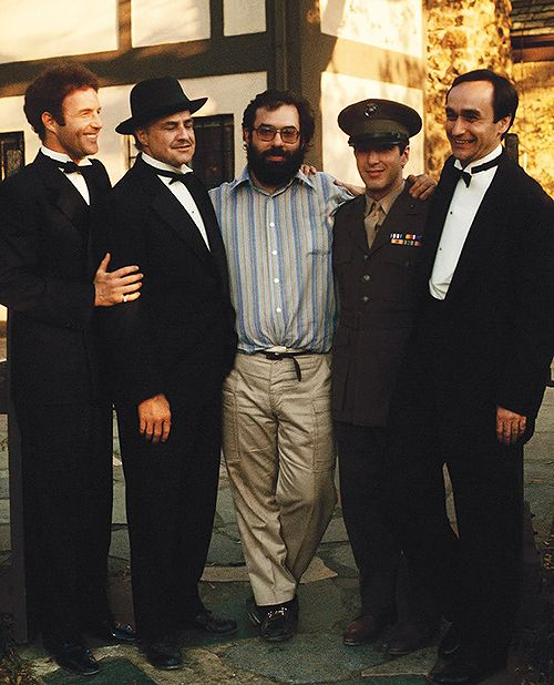 James Caan, Marlon Brando, Francis Ford Coppola, Al Pacino, and John Cazale photographed by Steve Schapiro on the set of The Godfather, 1972.