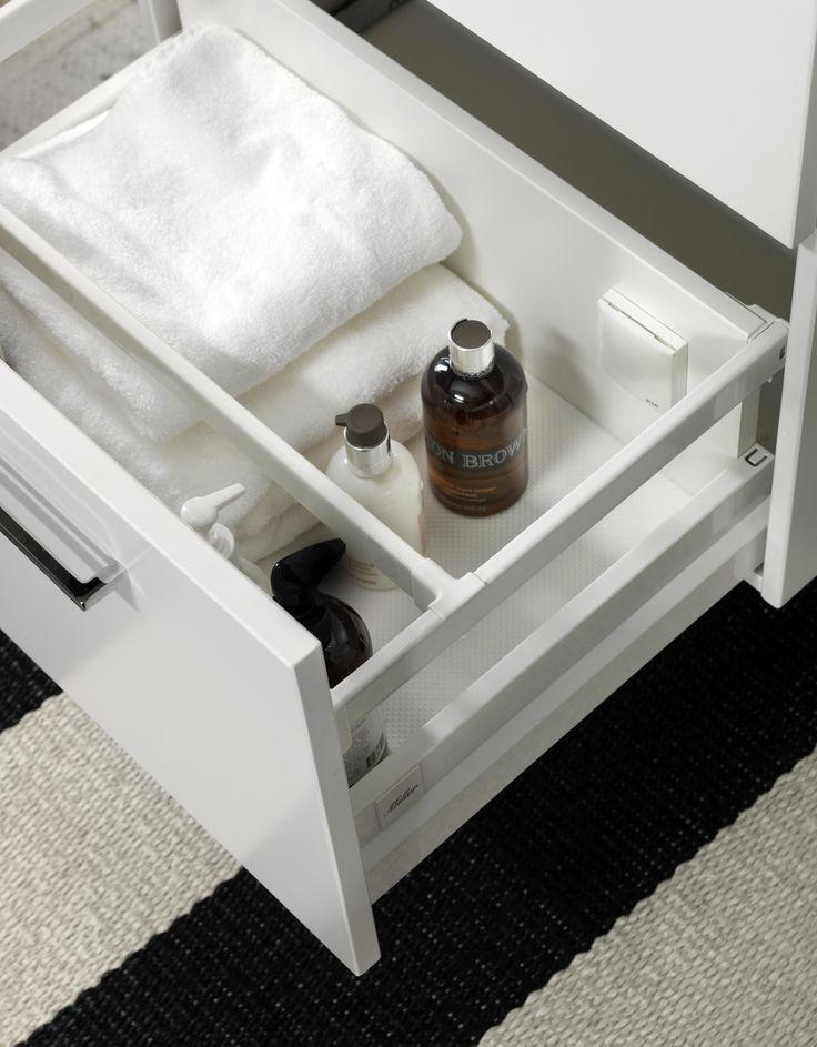 Bathroom drawer detail - adjustable guard rail - Miller bathrooms