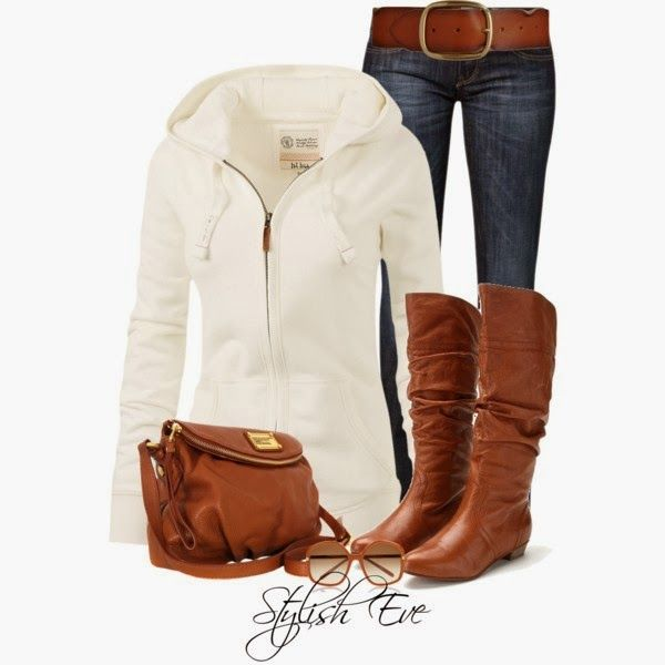 #CasualOutfits | AML  Fat Face White Hoody, LAURA Bootcut Jeans, Steve Madden Boots, Marc by Marc Jacobs Bag, Barneys New York Belt, Marni Sunglasses