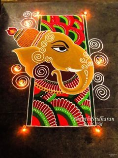 #ganesha#yellow#red#green#kolam