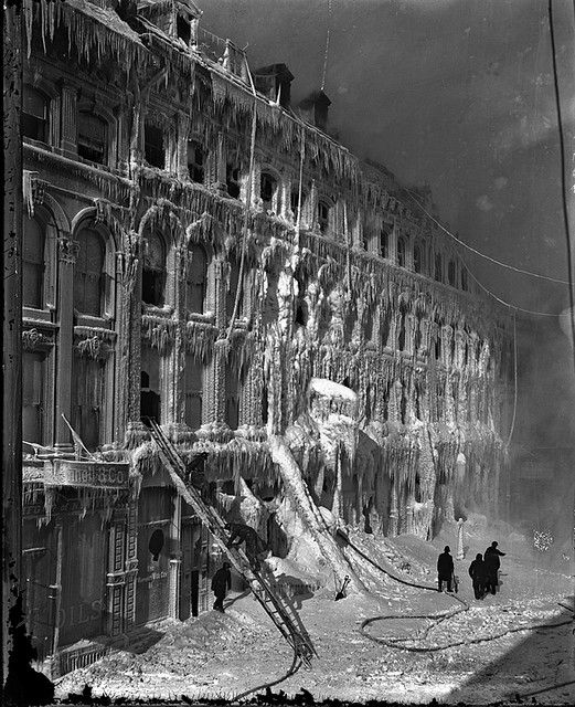 Building after a fire, east of Place d'Armes, Montreal, QC, 1888