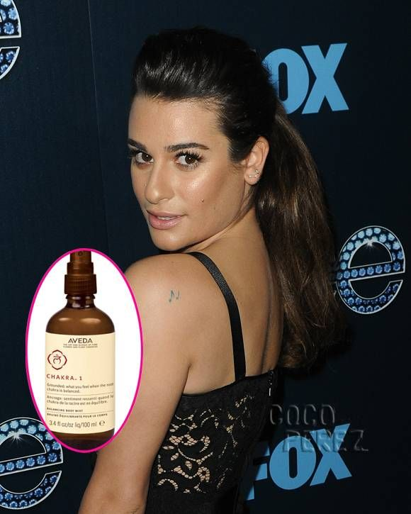 Lea Michele enjoys the balancing scent of AVEDA's Chakra line which features fragrances created from a mix of essential oils such as olibanum, organic patchouli, sandlewood, geranium and vetiver, among others.