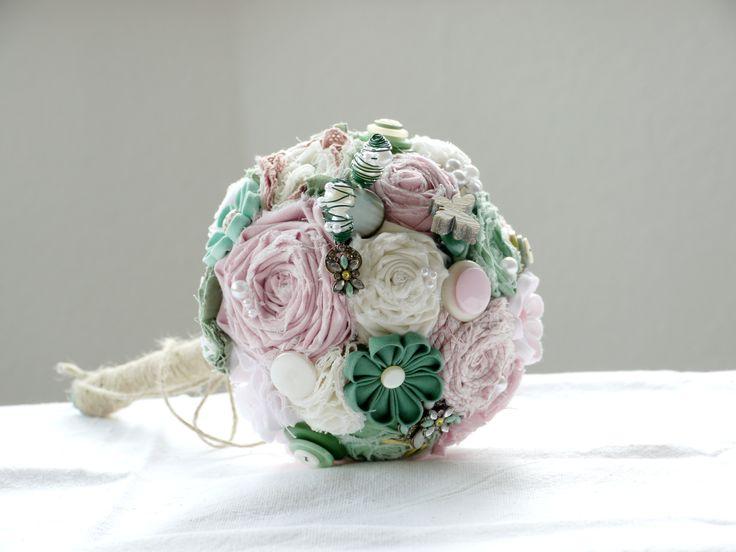 Vintage fabric flower bouquet with button applications...#Spring  #buttons, #fabricflower, #vintage, #beads, #alternativegift, #alternativegirl