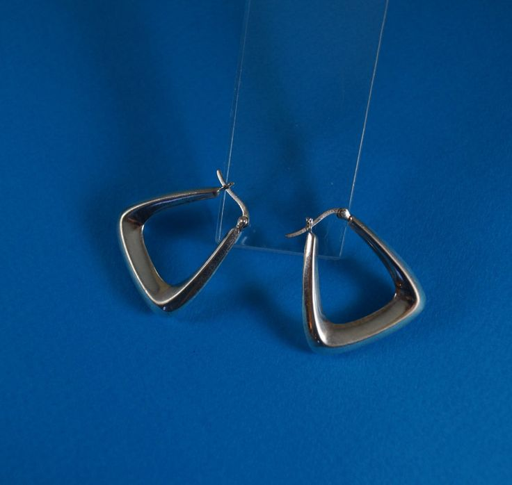 Modernist Triangular Sterling Silver Hoop Earrings, Nest & Company by shopnestandcompany on Etsy