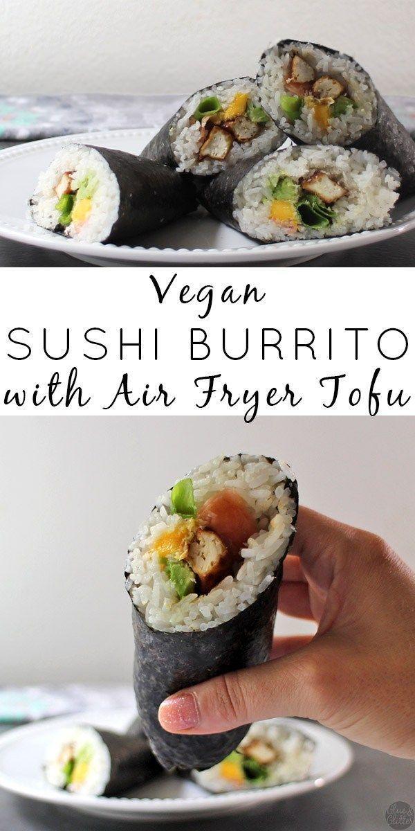 A fully loaded Vegan Sushi Burrito stuffed with air fryer tofu, mango, avocado, and more!  #sponsored #eztofupress