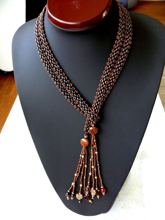 Seed beaded LARIAT beaded necklace with agates fossils and superduo beads Seed Bead Jewelry EBW team