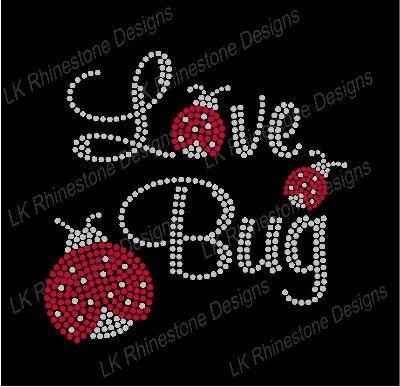 Valentine Love Bug Iron On Rhinestone Transfer