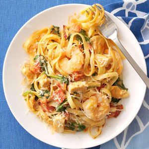 Chicken & Shrimp Fettuccine Recipe from Taste of Home