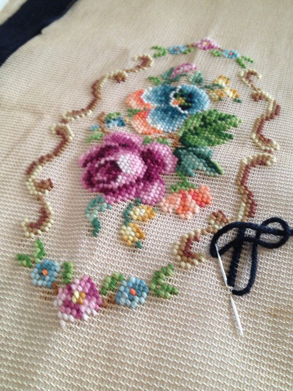 Vintage Bucilla Needlepoint Preworked by TheLittleThingsVin: