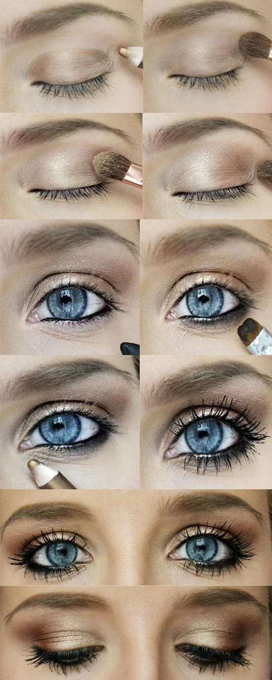 gold-bronze eye makeup. perfect for the baby blues: