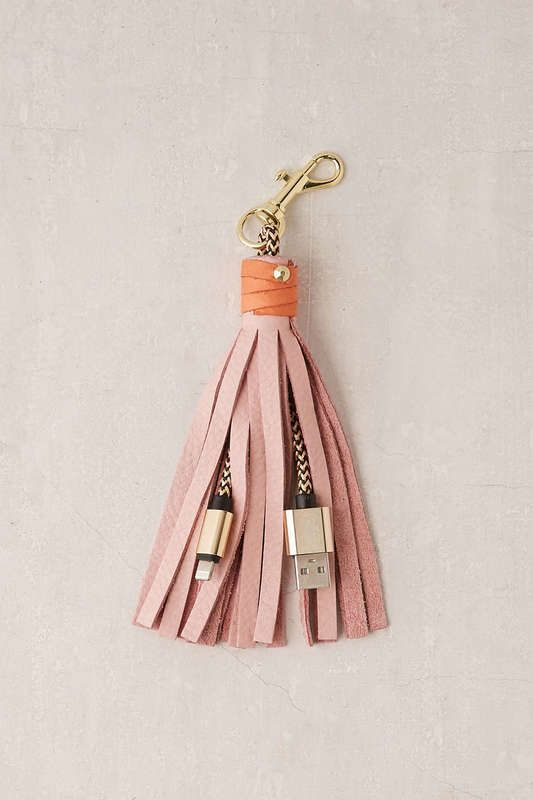 Tech stocking stuffer: Leather tassel key chain with USB charger at Anthropologie