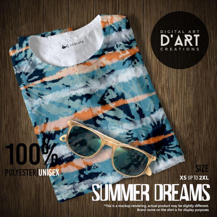 SUMMER DREAMS --- Tie dye design in a cool summer palette. --- #tiedye #summer #surf #waves #beach #ocean #sea #vintage #sixties #hippie #surfer #unisex #tshirt #tee #shirt #tshirtfashion #fashion #beachfashion #summerfashion #formen #forwomen #digitalartcreations #inktale