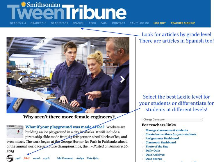 The Smithsonian Tween (& Teen) Tribune is a free resource and a great place to grab informational and nonfiction texts written at various Lexile levels to support a wide range of reading abilities.