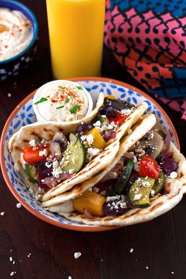 Hummus and Sauteed Vegetable Flatbread Wraps Recipe   Little Spice Jar