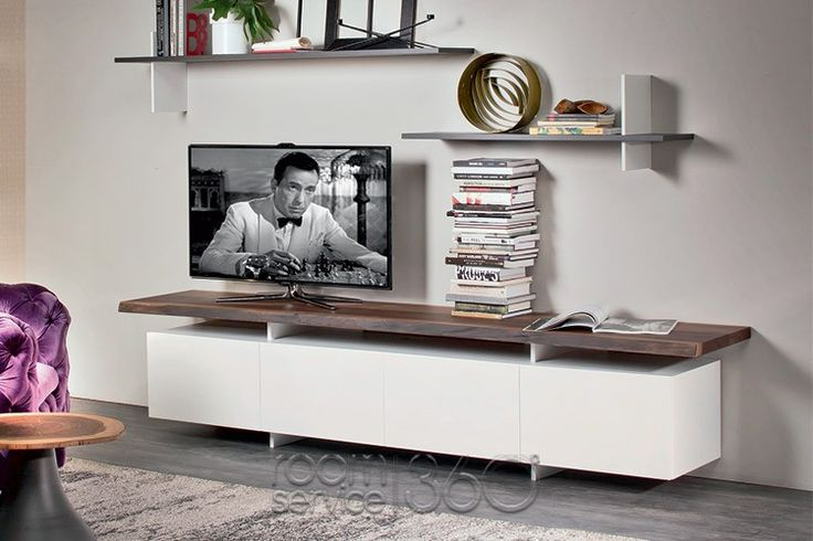 Seneca 4-Door TV Stand with White Structure and Walnut Top by Cattelan Italia